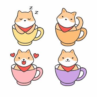 Shiba inu cachorro em uma xícara de chá mão desenhada cartoon coleção