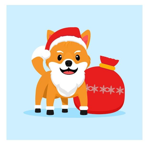 Shiba inu como papai noel doggy christmas em design plano
