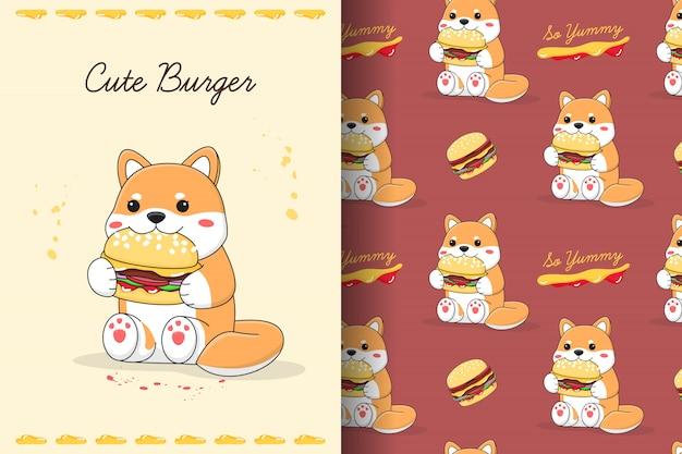 Shiba inu fofo comendo hambúrguer sem costura padrão e cartão