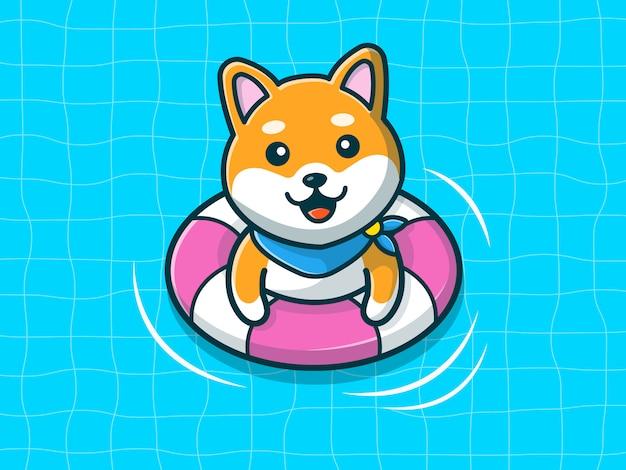 Shiba inu nadando na praia