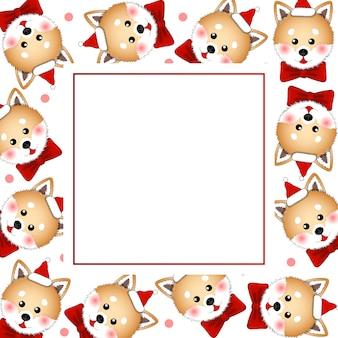 Shiba inu papai noel cachorro com fita vermelha