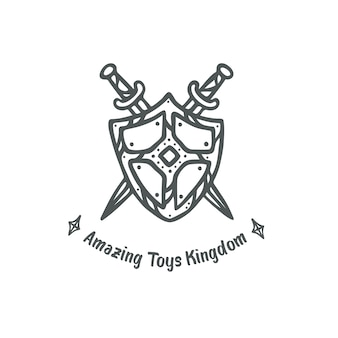 Shield and swords logo clipart