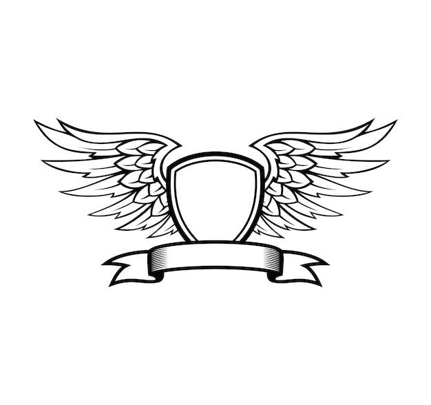 Shield design with ribbon