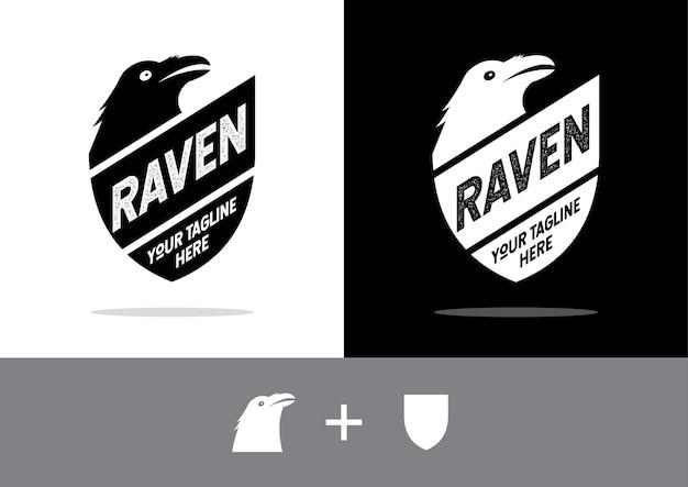 Shield e raven. escudo com um corvo negro.