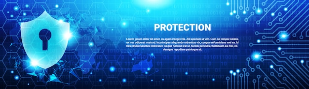 Shield shield blue polygons over circuit background
