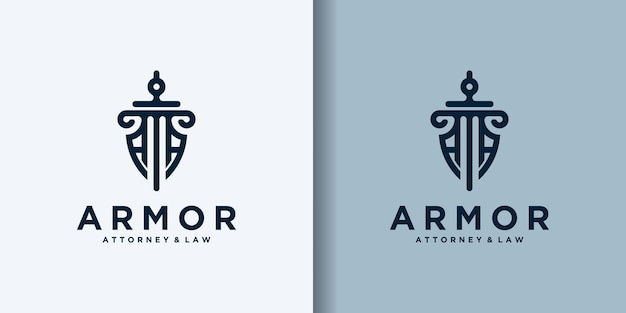 Shield sword law firm design de logotipo da empresa de segurança