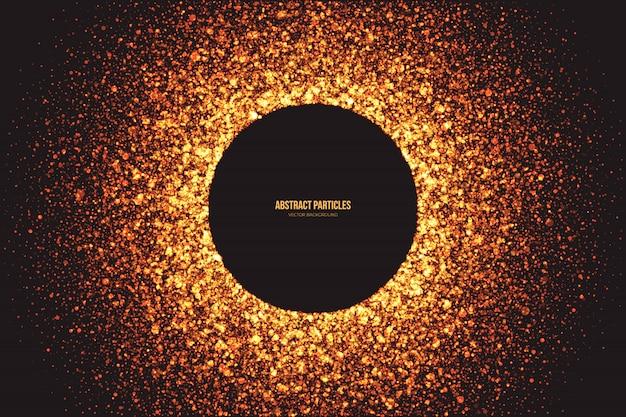 Shimmer dourado brilhante partículas redondo fundo de quadro