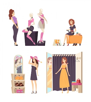 Shopaholic feminino usando vestido na loja