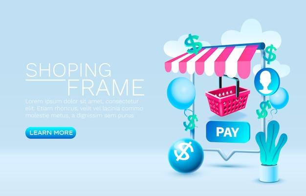 Shoping mensagem smartphone tecnologia de tela móvel vetor de exibição móvel