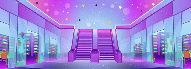 Shopping center com lojas e uma escada rolante. conceito de grande venda ou marketing móvel e e-commerce. ilustração dos desenhos animados.