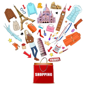 Shopping europe travel composition