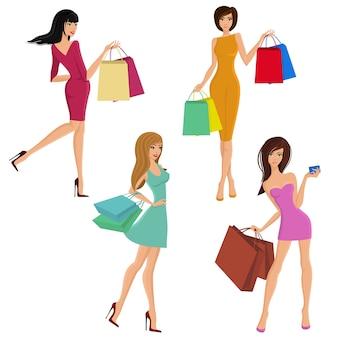 Shopping girl, jovem, femininas, femininas, moda, moda, sacolas, isolado, vetorial, ilustração