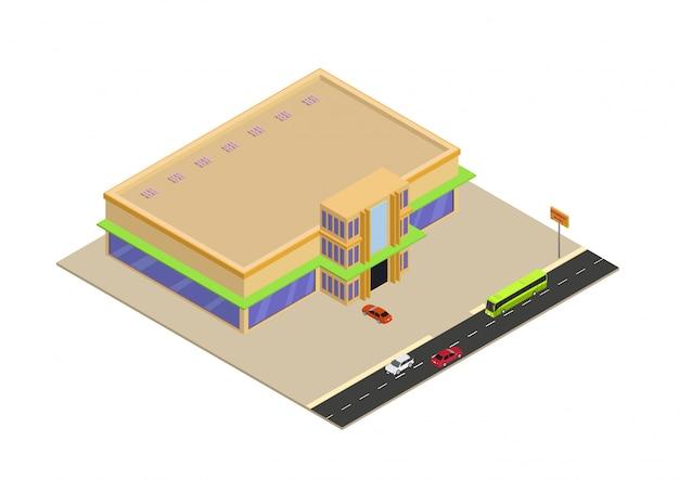 Shopping isométrico ou edifício de supermercado