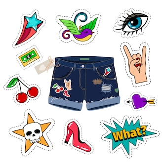 Shorts jeans chiques com patch set