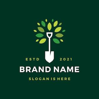 Shovel tree leaf spade nature green logo
