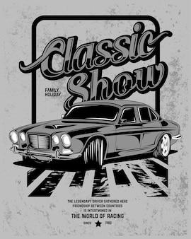 Show clássico, ilustração de um carro esporte clássico
