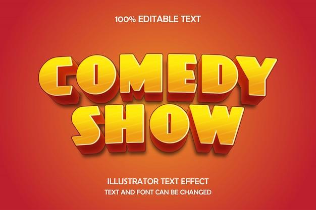 Show de comédia, efeito de texto editável 3d gradação amarela laranja sombra moderna estilo cômico