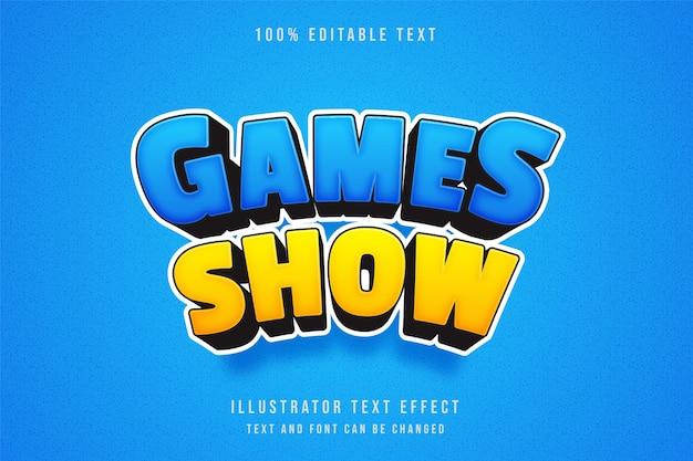 Show de jogos, efeito de texto editável 3d. efeito cômico