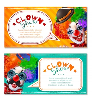 Show de palhaço de circo 2 banners horizontais