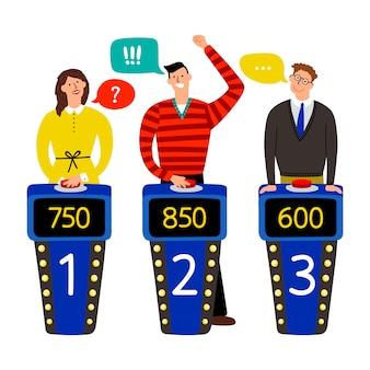 Show de perguntas. atender pessoas na ilustração do jogo de perguntas