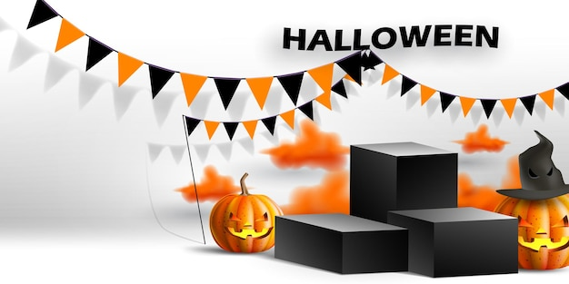Show de stand e pódio com decoração de halloween