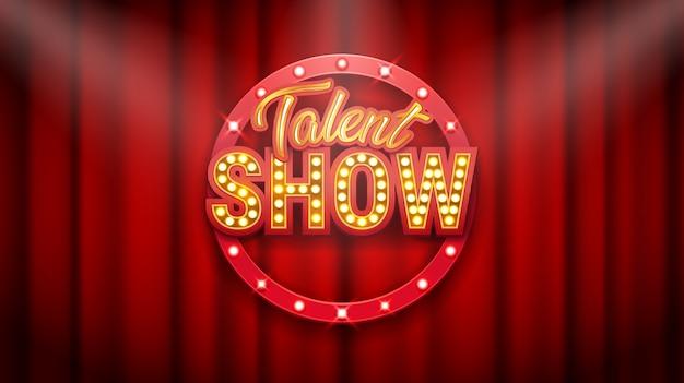 Show de talentos, cartaz, inscrição de ouro na cortina vermelha