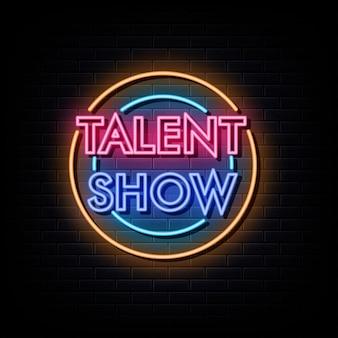 Show de talentos com logotipo de néon e símbolo de néon