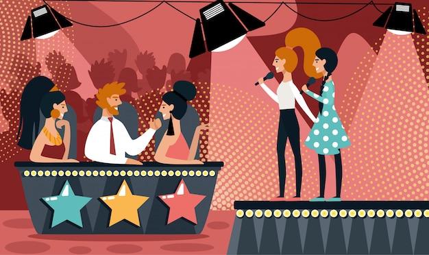 Show de talentos dueto da menina dos desenhos animados cantar juiz do júri da canção