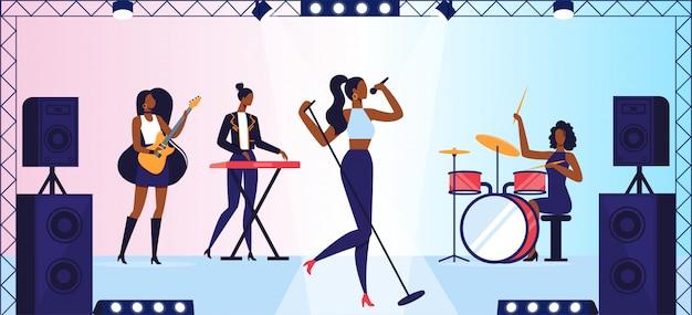 Show de talentos ou concerto de banda de música de meninas no palco
