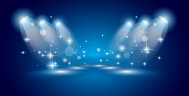 Show de teatro holofotes com luzes e estrelas
