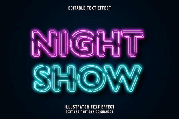 Show noturno, efeito de texto editável 3d estilo rosa azul moderno néon