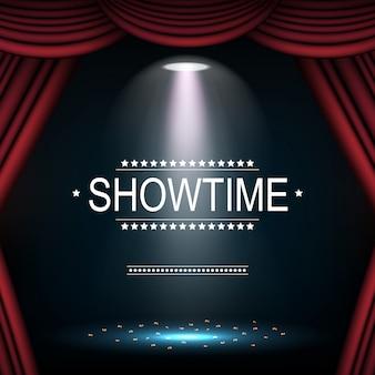 Showtime fundo com cortina iluminada por holofotes