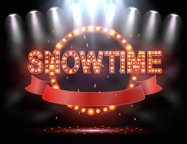 Showtime fundo iluminado por holofotes
