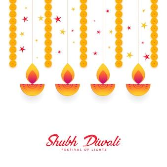 Shubh diwali diya e design de cartão de flor de calêndula