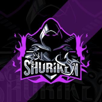 Shuriken mascote logotipo esport design