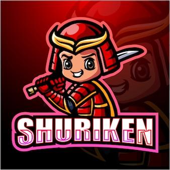Shuriken ninja mascote esport ilustração