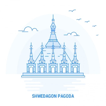 Shwedagon pagoda blue landmark