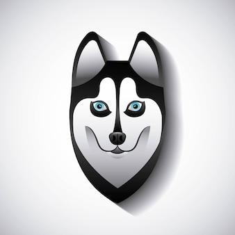 Siberian lobo design, ilustração de vetor eps10 gráfico