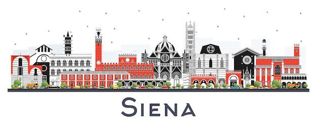 Siena tuscany a itália city skyline com cor edifícios isolados no branco. ilustração vetorial. viagem de negócios e conceito com arquitetura histórica. paisagem urbana de siena com pontos turísticos.