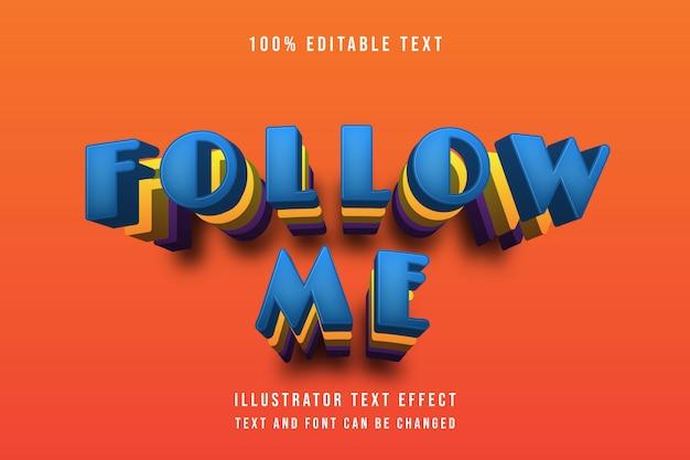 Siga-me, efeito de texto editável azul amarelo roxo padrão estilo moderno sombra