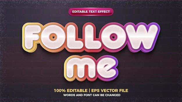 Siga-me mídia social efeito de texto editável em 3d