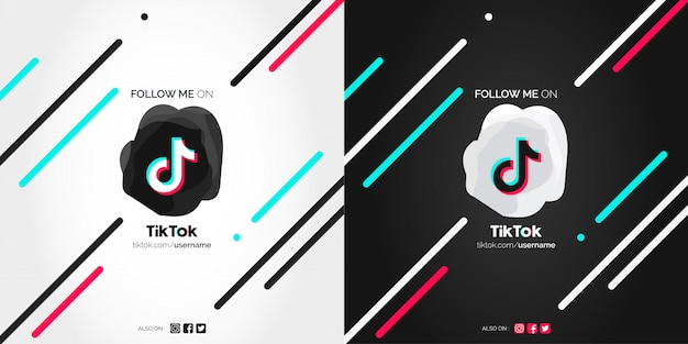 Siga-me nos banners abstratos do tiktok