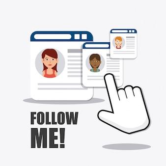 Siga-me social e de negócios