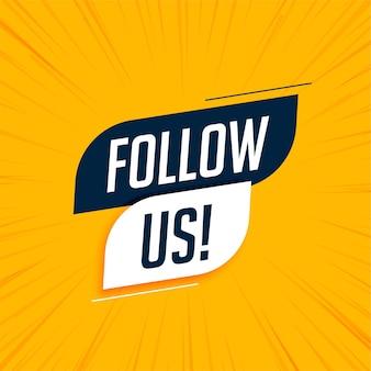Siga-nos banner de mídia social moderna