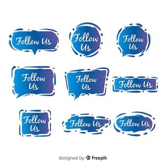 Siga-nos coleção de discurso de bolha
