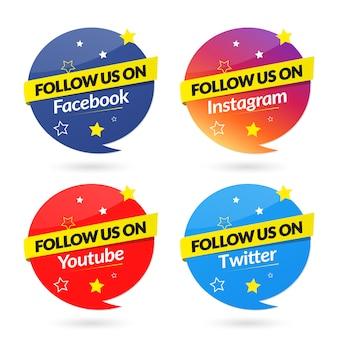 Siga-nos na coleção de banners de mídia social