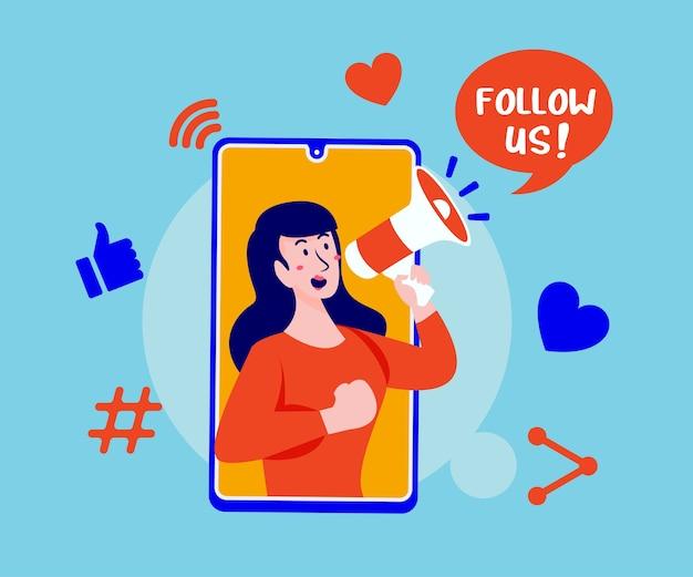 Siga-nos nas redes sociais com megafone