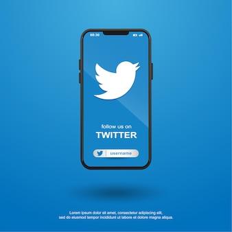 Siga-nos nas redes sociais twetter no celular