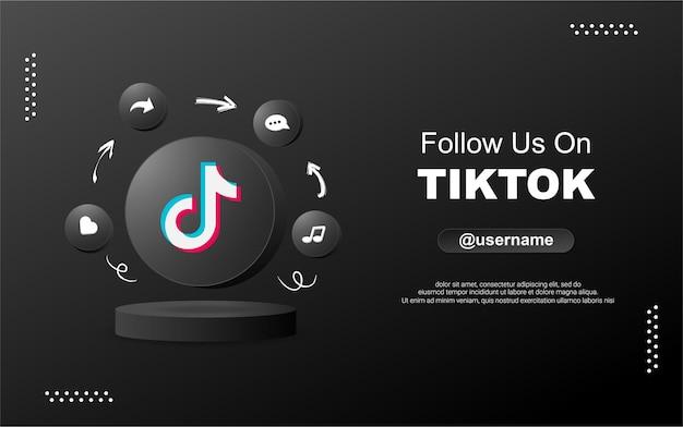 Siga-nos no tiktok para mídia social em ícones de notificação de círculo redondo 3d