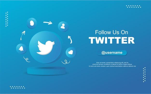 Siga-nos no twitter para mídias sociais em ícones de notificação de círculo redondo 3d